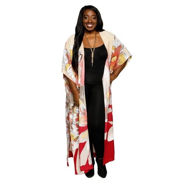 e49f055b36f Shop Xehar Womens Plus Size Casual Fashion Long Floral Kimono ...