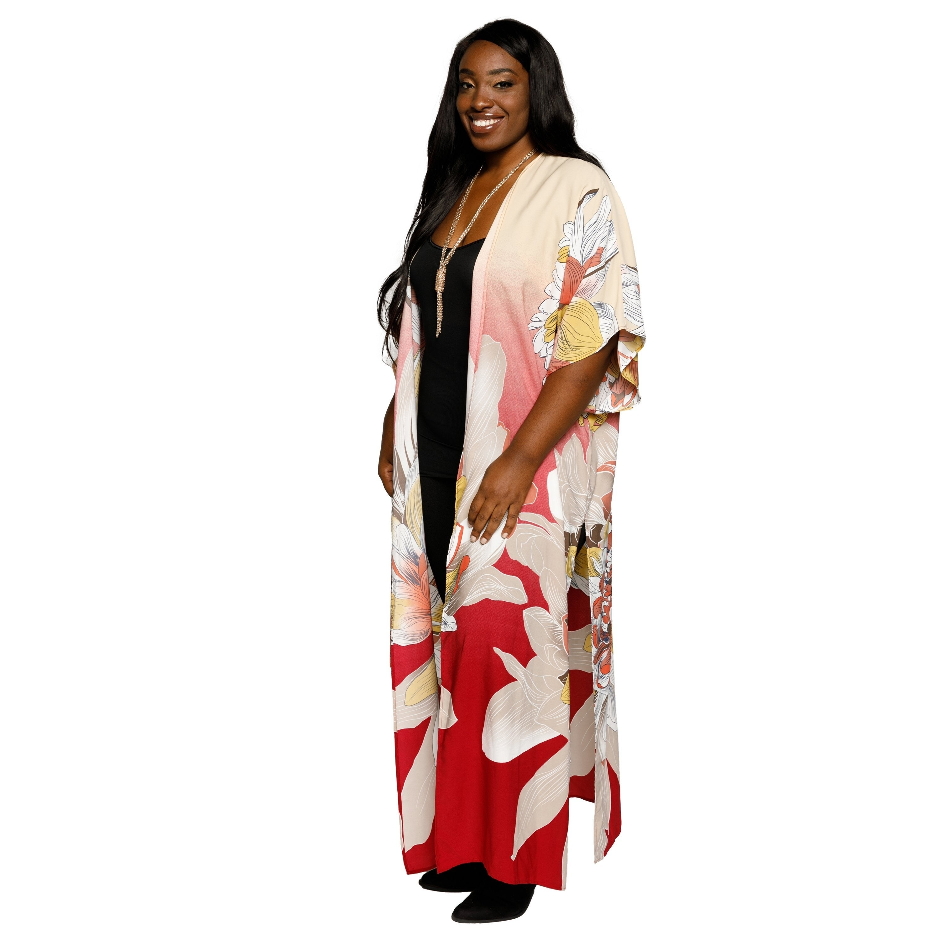 c33eff1d2 Shop Xehar Womens Plus Size Casual Fashion Long Floral Kimono Cardigan -  Free Shipping On Orders Over $45 - Overstock - 18150620