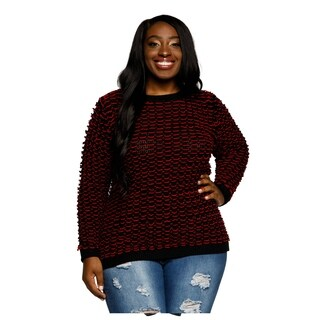 Xehar Womens Plus Size Knit Long Sleeve Crewneck Pullover Sweater
