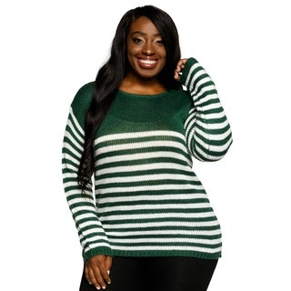 Xehar Womens Plus Size Striped Long Sleeve Crewneck Pullover Sweater