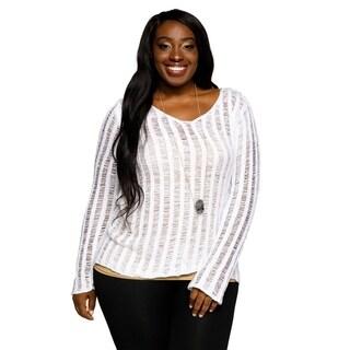 Xehar Womens Plus Size Casual Striped Illusion Fashion Sweater