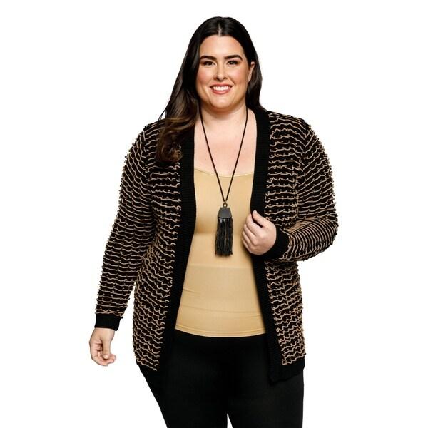 241a8278820 Shop Xehar Womens Plus Size Long Sleeve Open Front Knit Cardigan ...