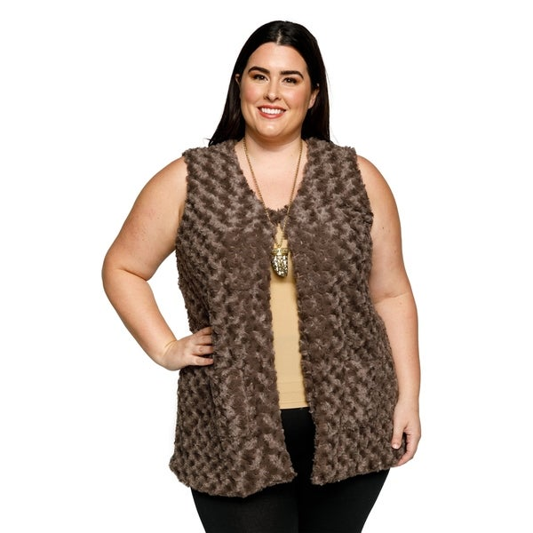 Shop Xehar Womens Plus Size Winter Sleeveless Fuzzy Faux Fur Sweater