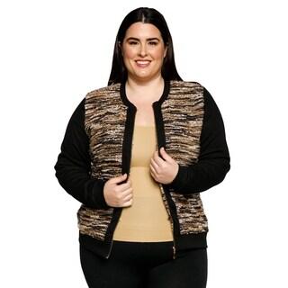 Xehar Womens Plus Size Long Sleeve Crewneck Zip Up Front Sweater