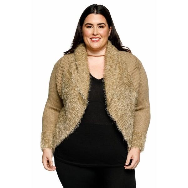 40b574759a03e Shop Xehar Womens Plus Size Fuzzy Cocoon Open Front Cardigan Sweater ...