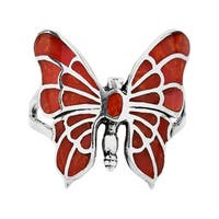 Exotic Butterfly Synthetic Coral Inlay Sterling Silver Ring (Thailand)
