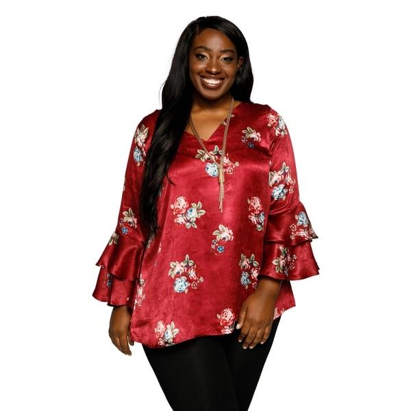 97bdf68af32e1e Shop Xehar Womens Plus Size Satin V-Neck Floral Ruffle Tunic Blouse ...