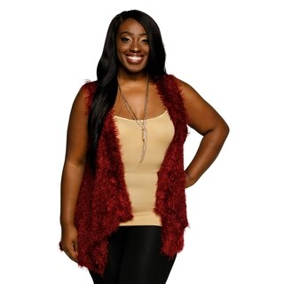 Xehar Womens Plus Size Fuzzy Sleeveless Open Front Sweater Vest