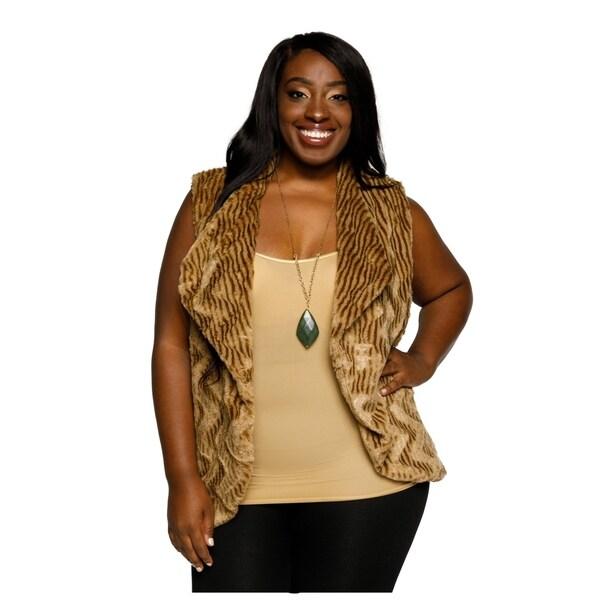 Shop Xehar Womens Plus Size Faux Fur Chevron Sleeveless Sweater Vest