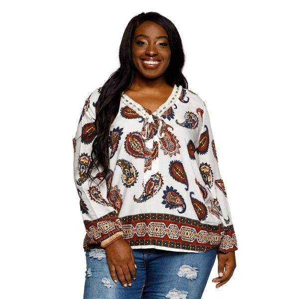f8ce4a2140b Shop Xehar Womens Plus Size Casual V-Neck Paisley Boho Tunic Blouse ...