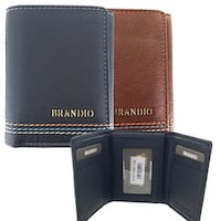 Faddism Mens Leather Simplicity Flipout ID Trifold Hybrid Wallet