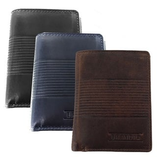 Faddism Mens Leather Textured Simple Triifold Hybrid Wallet