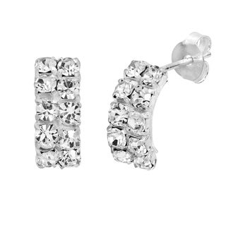 Classy Vertical Double Row 5mm Crystal Silver Post Earrings (Thailand)