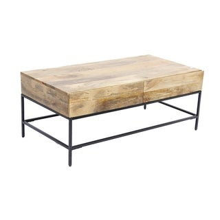 Enchanting Brown Wood Top Metal Base Coffee Table