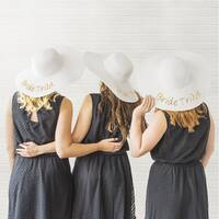 Gold Sequin Bride & Bride Tribe Sun Hats