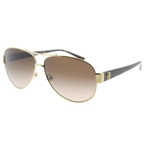 Tory Burch Aviator TY 6057 324013 Womens Gold Frame Brown Gradient Lens Sunglasses