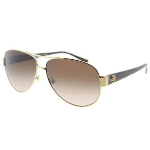 a3c7e15fe Tory Burch Aviator TY 6057 324013 Womens Gold Frame Brown Gradient Lens  Sunglasses