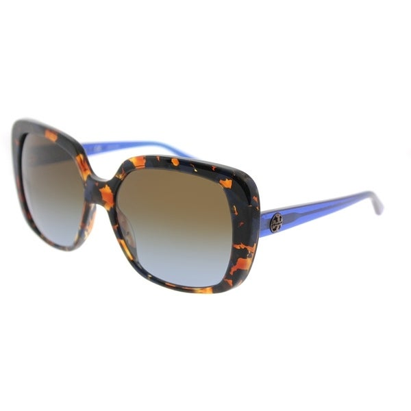 81ad2b3d5c11 Tory Burch Square TY 7112 168313 Womens Blue Flake Tort Frame Blue Brown  Gradient Lens Sunglasses