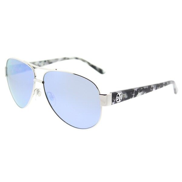 50fceccfb5 Tory Burch Aviator TY 6057 324322 Womens Silver Frame Blue Flash Mirrored  Polarized Lens Sunglasses