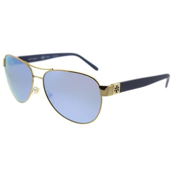 07fbb9e6c888 Tory Burch Aviator TY 6051 304122 Womens Gold Frame Blue Flash Mirrored  Polarized Lens Sunglasses