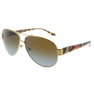 Tory Burch Aviator TY 6057 324113 Womens Gold Frame Blue Brown Gradient Lens Sunglasses