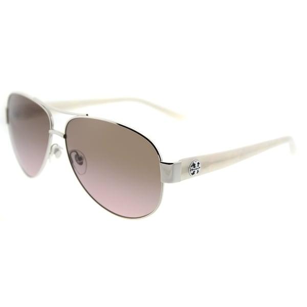 c51fc9237c01 Tory Burch Aviator TY 6057 324314 Womens Silver Frame Rose Gradient Lens  Sunglasses