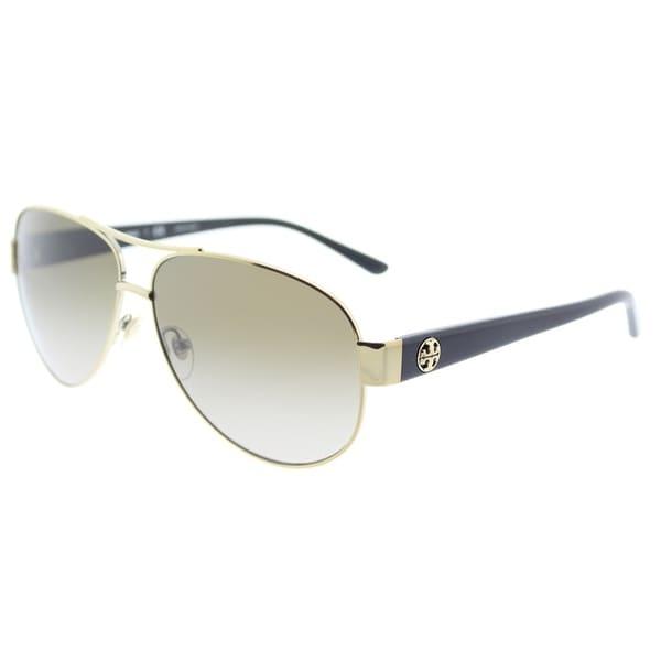 b8296ca0f7e3 Tory Burch Aviator TY 6057 323913 Womens Gold Frame Grey Gradient Lens  Sunglasses