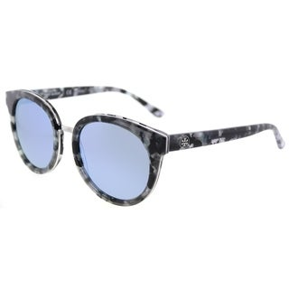 Tory Burch Phantos TY 7062 168522 Womens Black Pearl Tort Frame Blue Flash Mirrored Polarized Lens Sunglasses