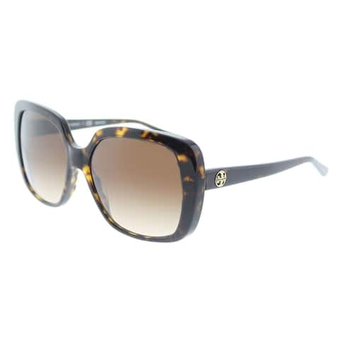 8b2942dac Tory Burch Square TY 7112 137813 Womens Dark Tortoise Frame Brown Gradient  Lens Sunglasses