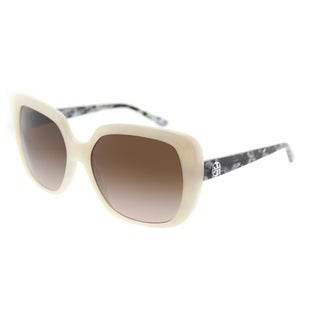 Tory Burch Square TY 7112 168413 Womens Ivory Moonstone Frame Brown Gradient Lens Sunglasses