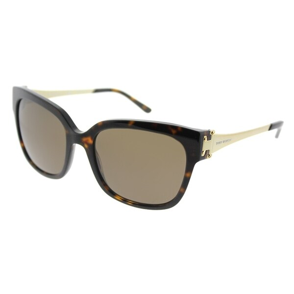 4a9ad51816d4 Tory Burch Square TY 7110 137873 Womens Dark Tortoise Frame Brown Lens  Sunglasses