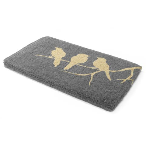 "Handmade Birds On Branch Coir Doormat (India) - 18"" x 30"""