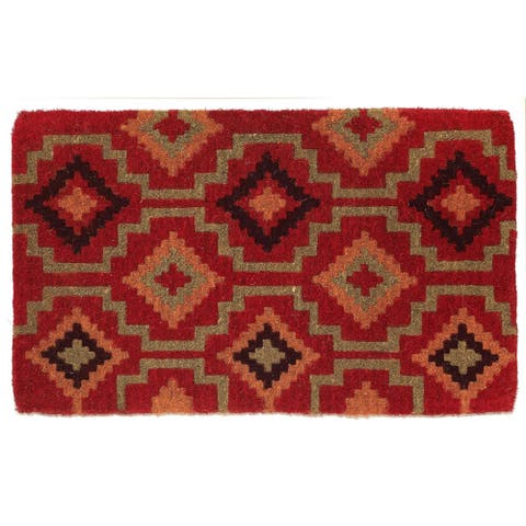 Handmade Lhasa Kilim Coir Extra Thick Durable Doormat (India) - 2' x 3'