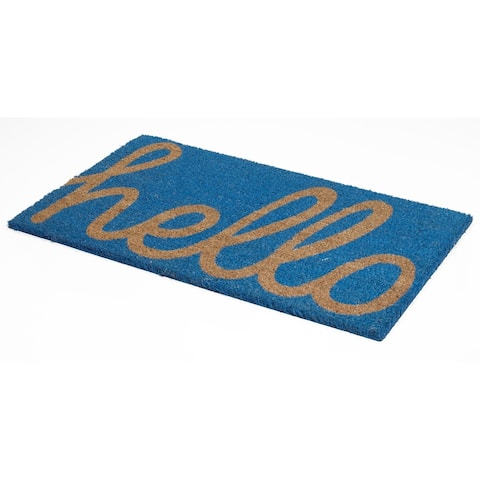 "Handmade Cursive Hello Coir Durable Doormat (India) - 18"" x 30"""