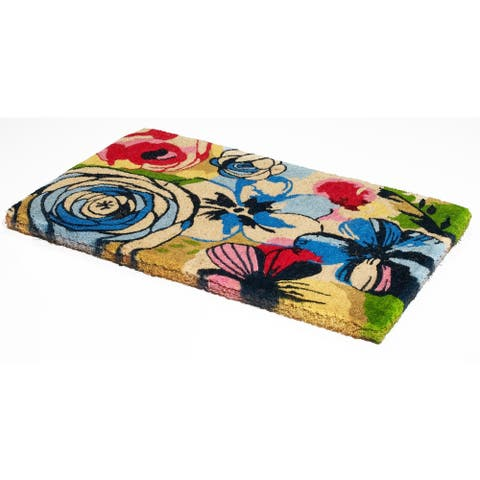 Handmade Watercolor Floral Coir Extra Thick Durable Doormat (India) - 2' x 3'