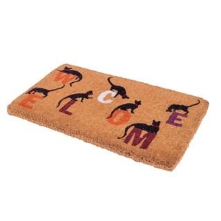 "Handmade Extra Thick Durable Inquisitive Cat Coir Doormat - 18"" x 30"" (India)"