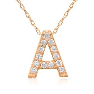 1/10ct TDW Diamond Initial Necklace In 18 Karat Rose Gold (G-H, VS2-SI1), All Letters A-Z Available