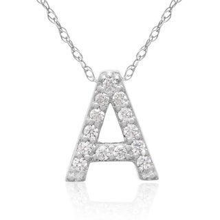 1/10ct TDW Diamond Initial Necklace In 18 Karat White Gold (G-H, VS2-SI1), All Letters A-Z Available