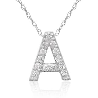 Initial diamond necklaces for less overstock 110ct tdw diamond initial necklace in 18 karat white gold g h vs2 aloadofball Gallery