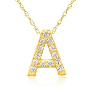 1/10ct TDW Diamond Initial Necklace In 18 Karat Yellow Gold (G-H, VS2-SI1), All Letters A-Z Available