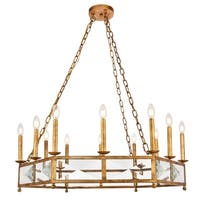 """Exeter Collection Chandelier  D37.625"""" H12.5"""" Golden Iron Finish"""