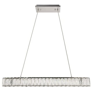 Monroe Collection Chrome Stainless Steel/Crystal 3-inch x 31.5-inch Diameter Chandelier