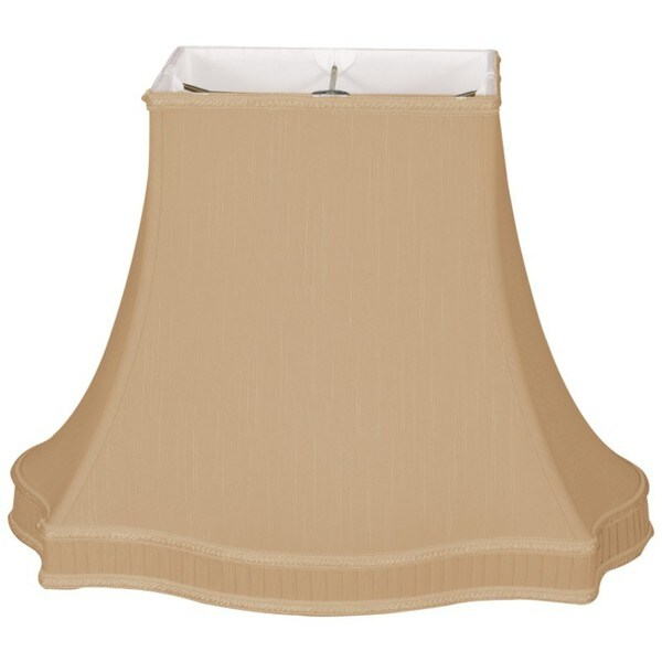 Royal Designs Rectangle Bell with Bottom Gallery Designer Lamp Shade, Antique Gold, (6 x 4.25) x (12 x 9) x 9