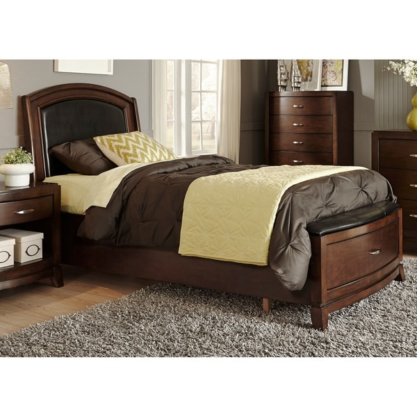 Shop Avalon Dark Truffle Leather Storage Bed Free