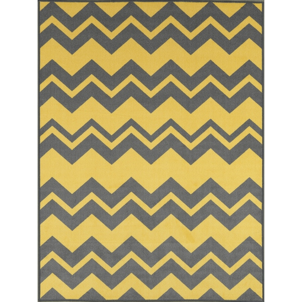 Ottomanson Studio Collection Yellow Grey Chevron Design Area Rug 3 X27