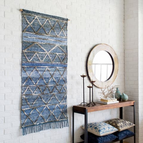 "Yngve Blue 30"" x 60"" Traditional Decorative Tapestry"