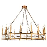 """Exeter Collection Chandelier  D48.5"""" H12.5"""" Golden Iron Finish"""
