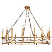 Exeter Collection Goldtone Iron 12.5 Inches High x 48.5 Inches Diameter Chandelier