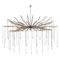 "Willow  Collection Chandelier  D60"" H35.125"" Drizzled antique sliver Finish - Silver"