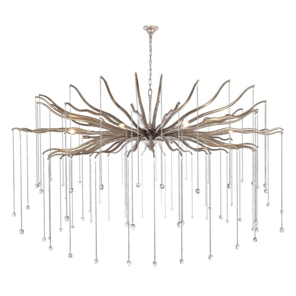 "Willow Collection Chandelier D60"" H35.125"" Drizzled antique sliver Finish"